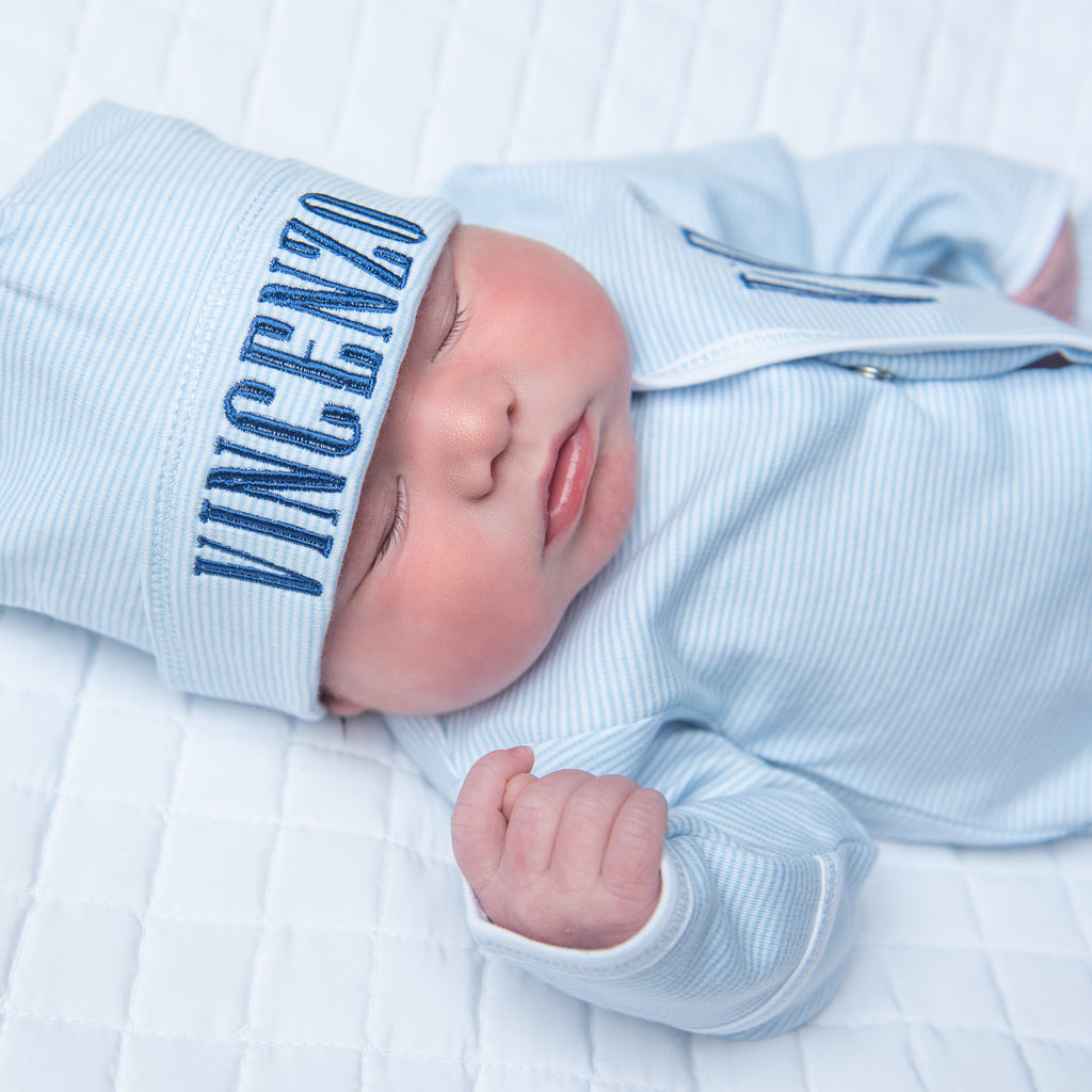 Magnolia Baby Blue Mini Stripe Footie + Hat Set - Personalization Available