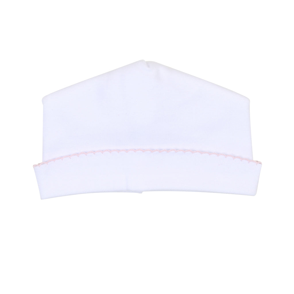 Liam & Lilly Bespoke White with Pink Trim Hat - Personalization Available