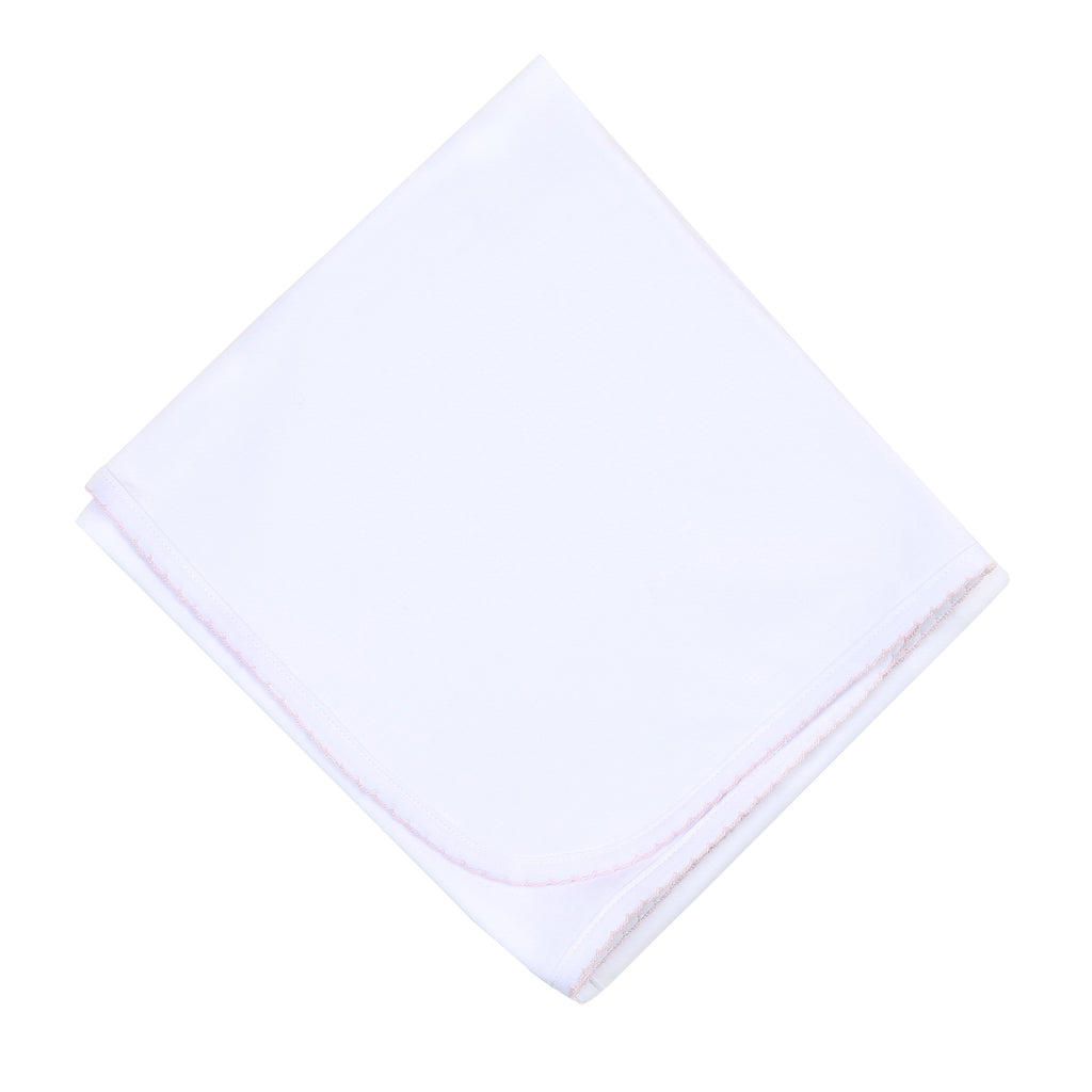 Liam & Lilly Bespoke White with Pink Trim Receiving Blanket - Personalization Available