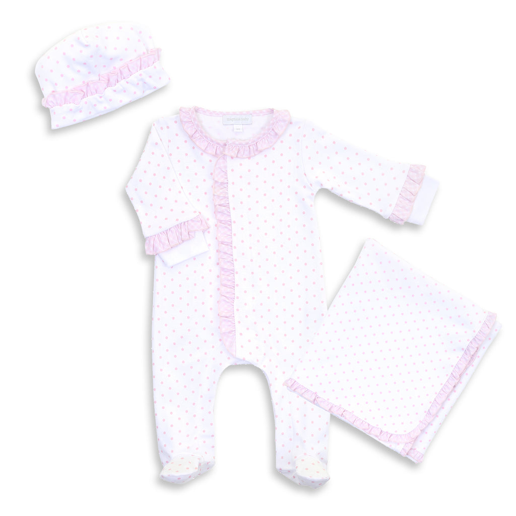 Magnolia Baby Gingham Dots Ruffled Footie Set - Personalization Available