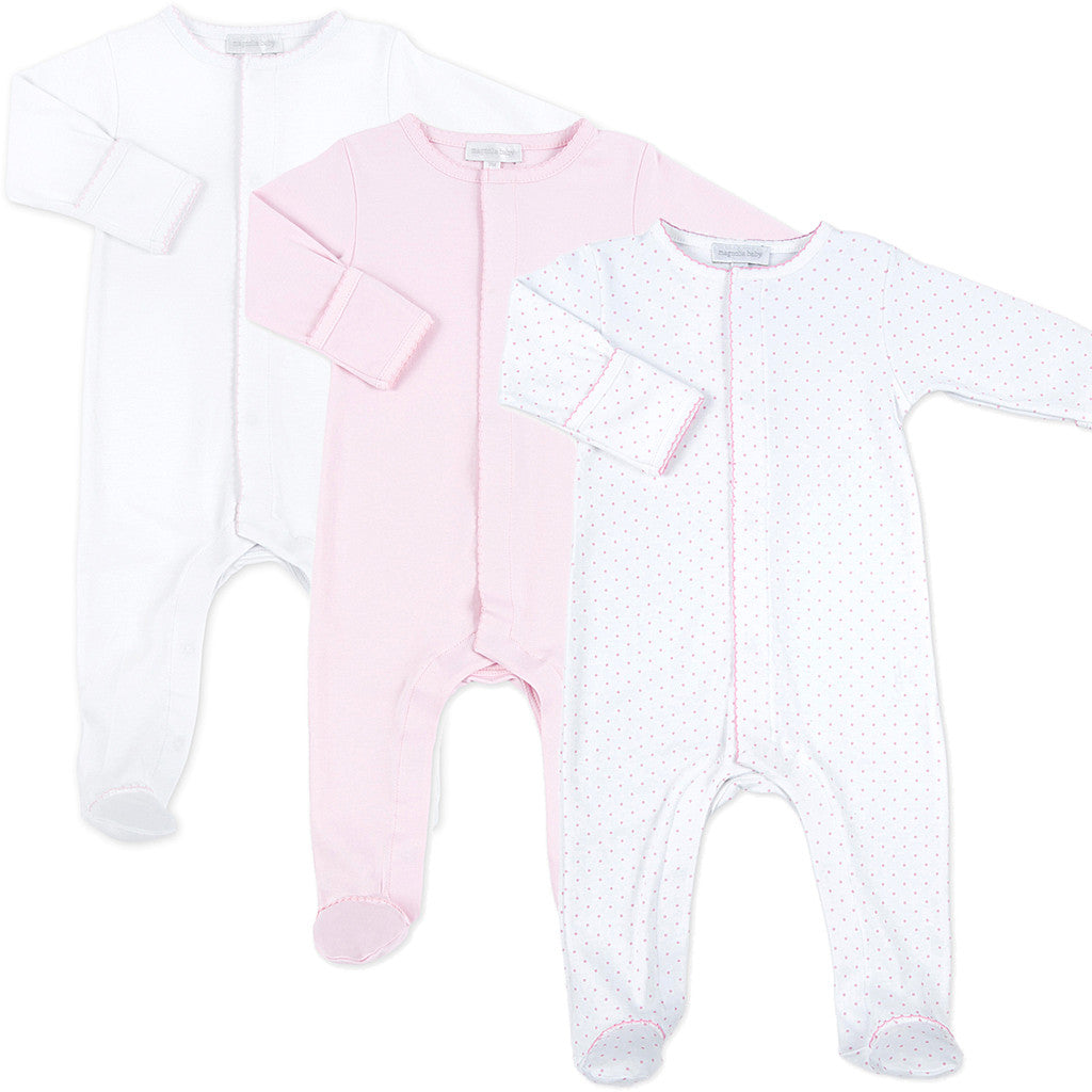 Magnolia Baby Pink MIni Dot Sleepsuit Set of 3