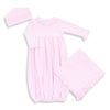 Magnolia Baby Pink Ruffled Gown + Hat + Blanket - Personalization Available