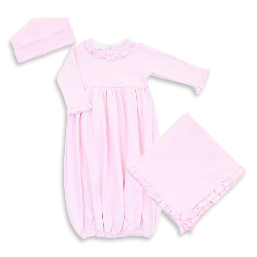 Magnolia Baby Pink Ruffled Gown Layette Set - Personalization Available