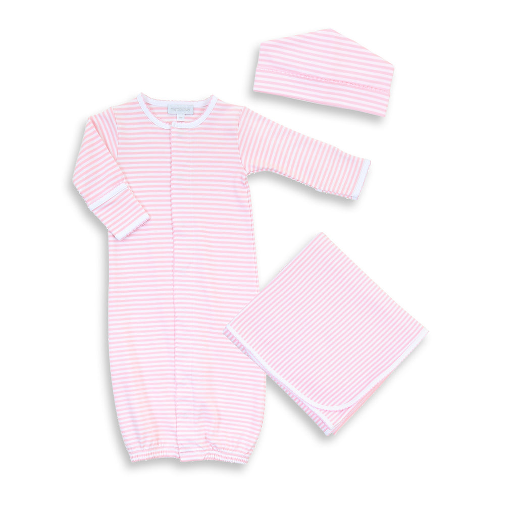 Magnolia Baby Essentials Pink Stripe Converter Gown Layette Set - Personalization Available