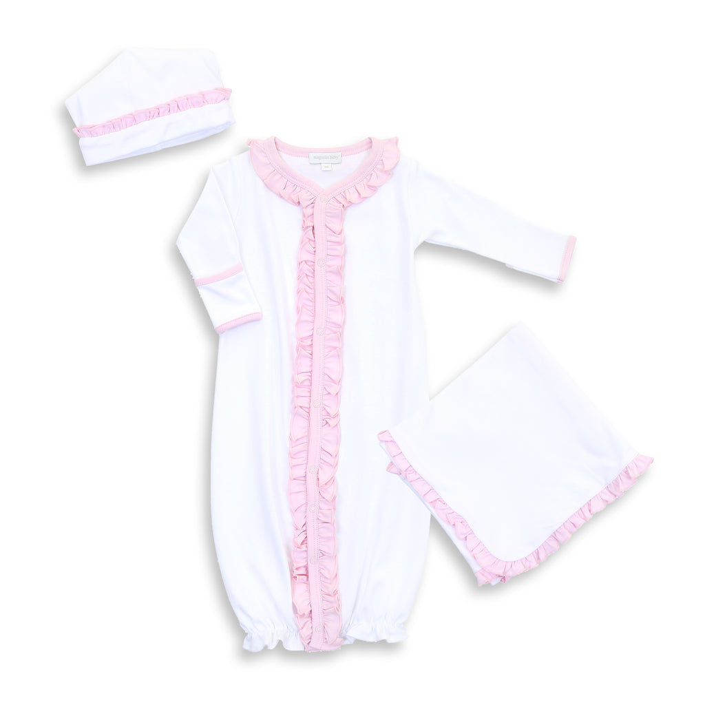 Magnolia Baby White with Pink Trim Converter Gown Layette Set - Personalization Available