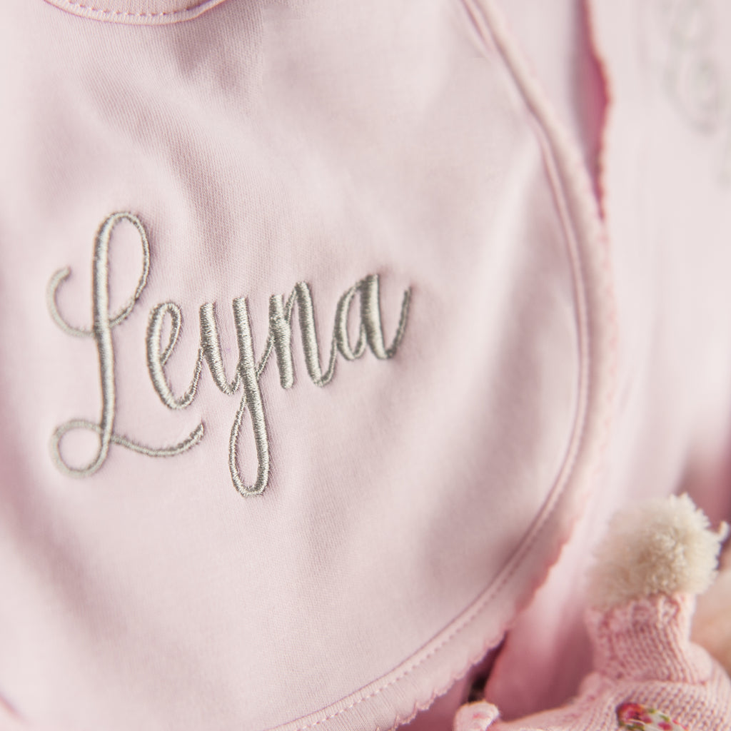 Magnolia Baby Essentials Pink Bib - Personalization Available