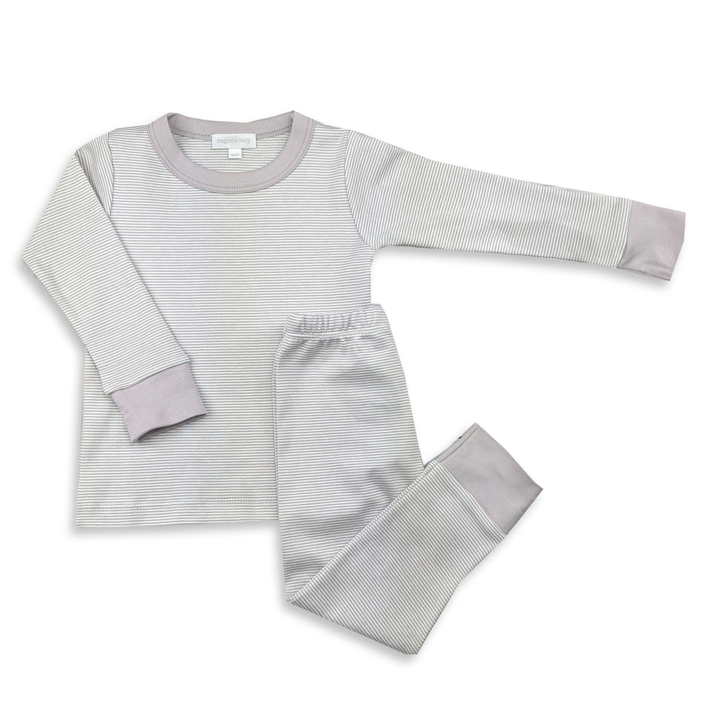 Magnolia Baby Essentials Grey Mini Stripe Long Pajamas - FREE Personalization Available