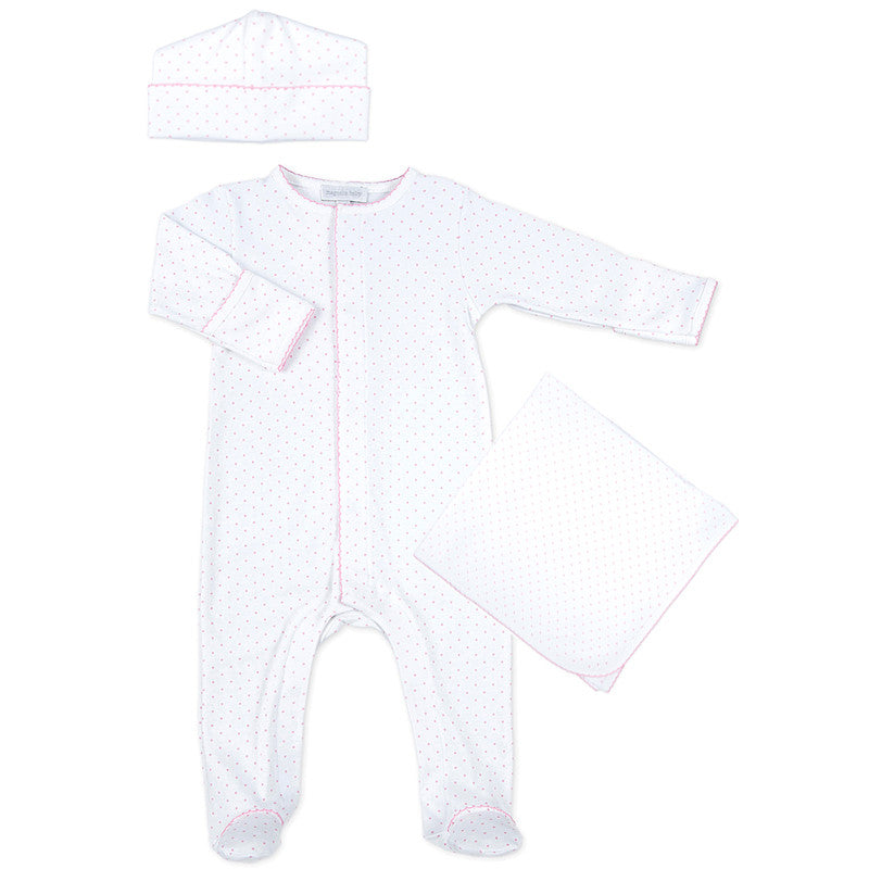 Magnolia Baby Pink Mini Dot Sleepsuit Layette Set - Personalization Available