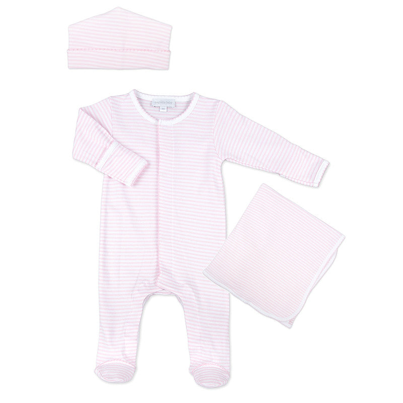 Magnolia Baby Pink Stripes Sleepsuit Layette Set