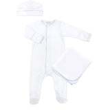 Magnolia Baby White with Blue Trim Sleepsuit Layette Set
