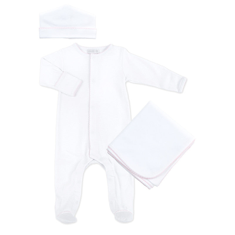 Magnolia Baby White Pink Trim Sleepsuit Layette Set