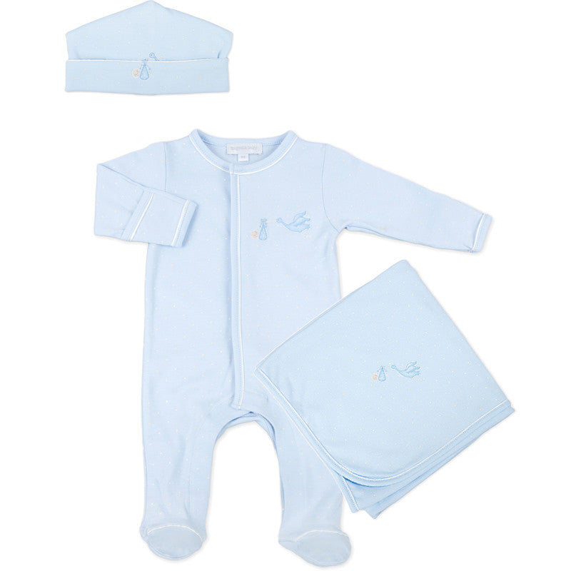 Magnolia Baby Blue Worth the Wait Embroidered Sleepsuit Layette Set
