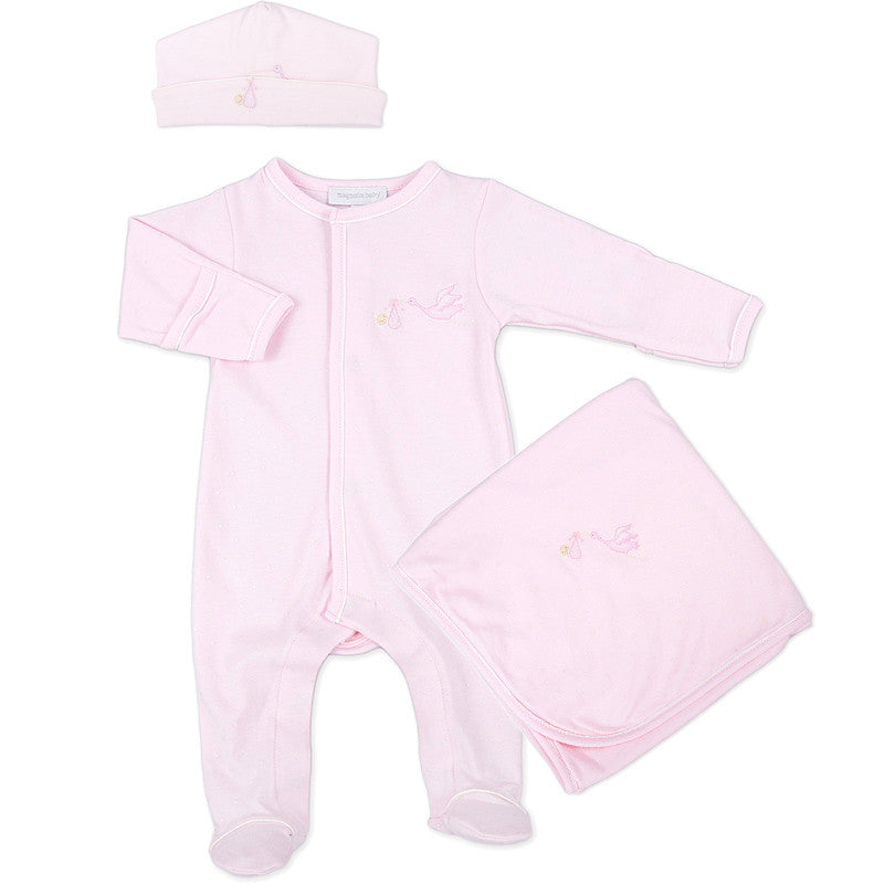 Magnolia Baby Pink Embroidered Worth the Wait Sleepsuit Layette Set