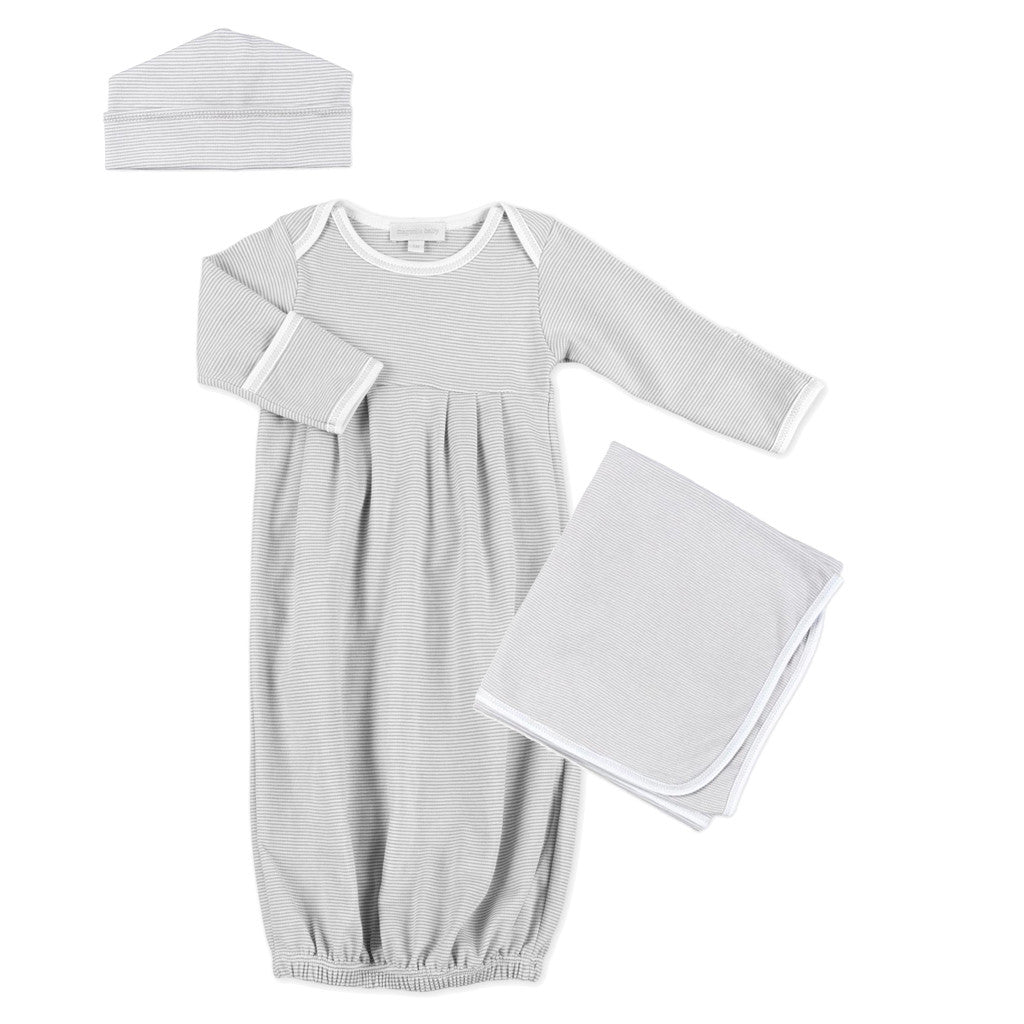 Magnolia Baby Unisex MIni Stripe Gathered Gown Set