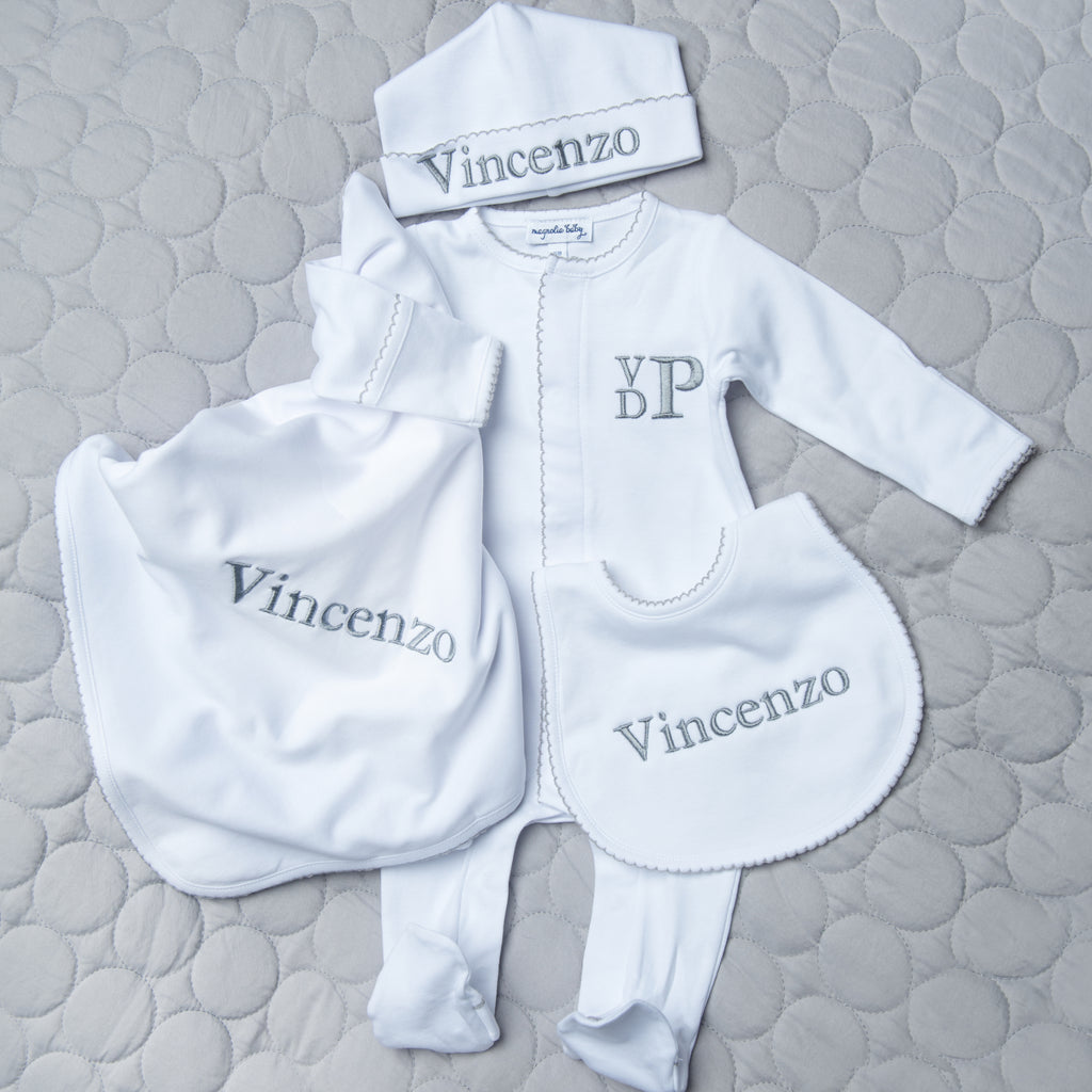 Magnolia Baby White with Grey Trim 4 Piece Gift Set - Personalization Available