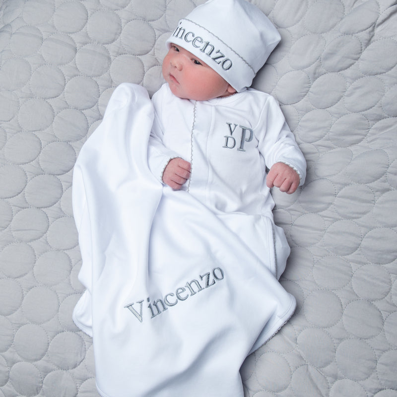 Magnolia Baby White with Grey Trim Footie + Hat + Blanket - Personalization Available