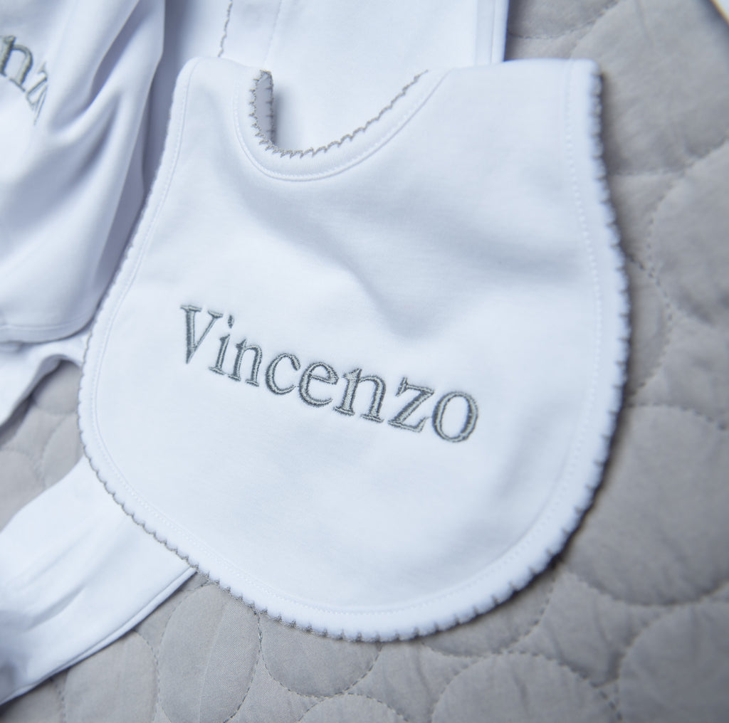 Magnolia Baby Essentials White with Grey Trim Bib - Personalization Available
