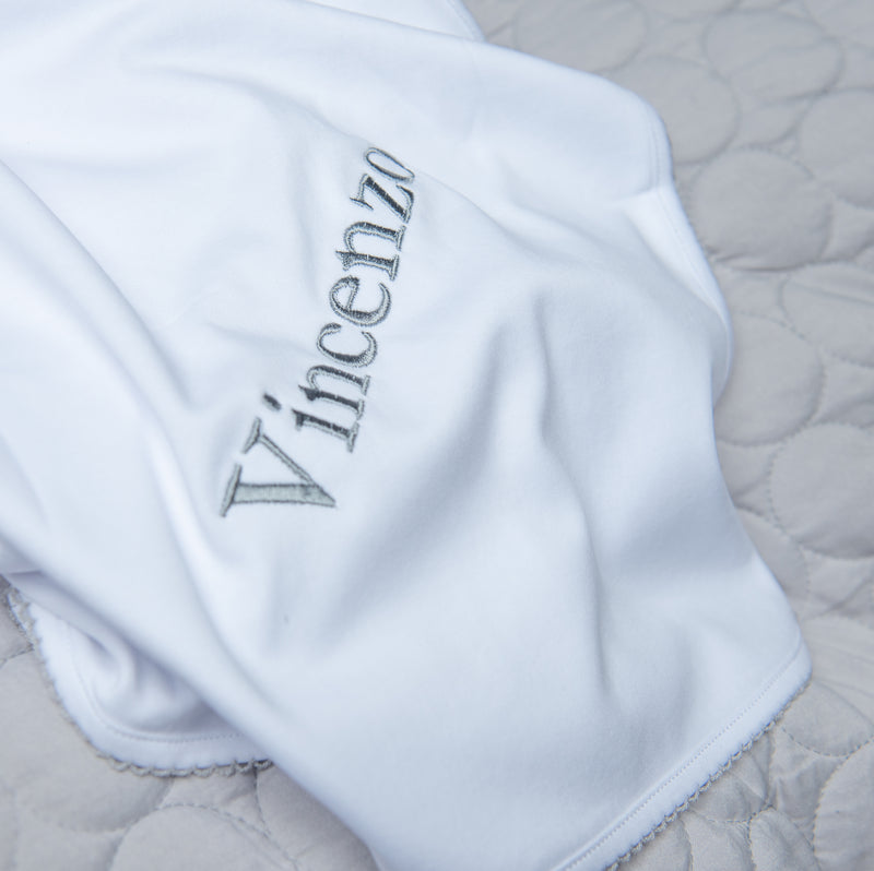 Magnolia Baby Essentials White with Grey Trim Blanket - Personalization Available