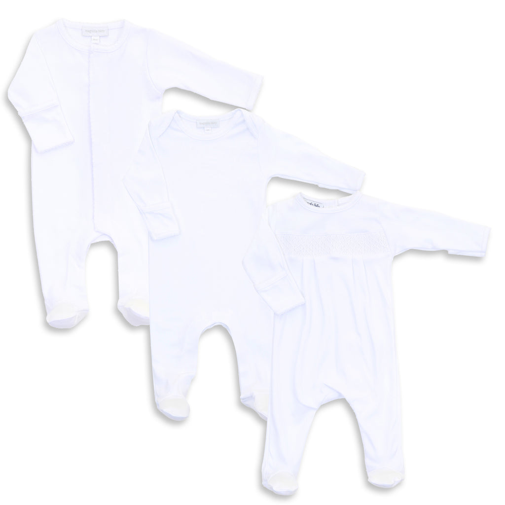 Magnolia Baby Mixed White Footie Set (3)
