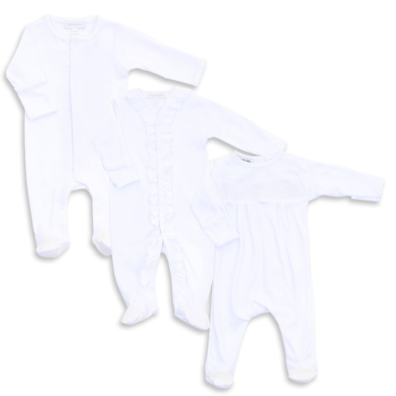 Magnolia Baby Girl Mixed White Footie Set (3)
