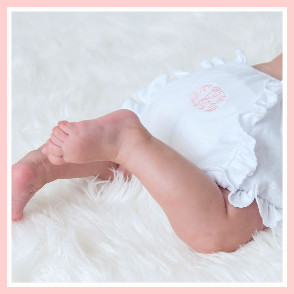 Magnolia Baby Essentials White with Pink Trim Ruffle Diaper Cover - Personalization Available