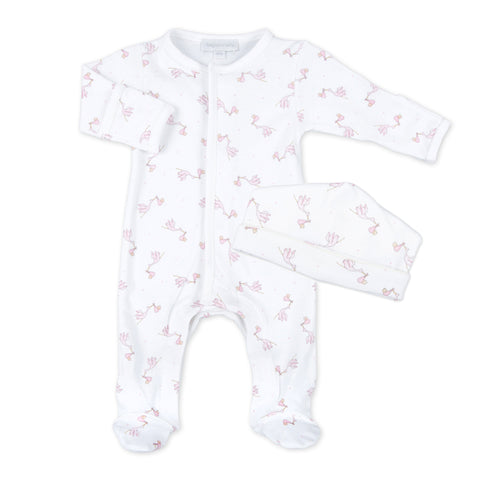 Magnolia Baby White with Pink Trim Sleepsuit Layette Set