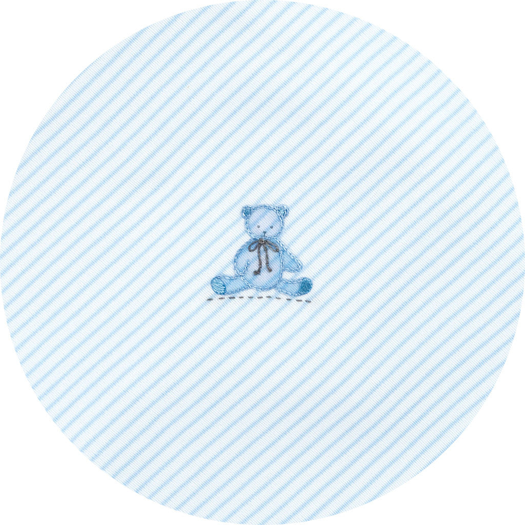 Magnolia Baby Essentials Baby's Teddy Blue Embroidered Receiving Blanket