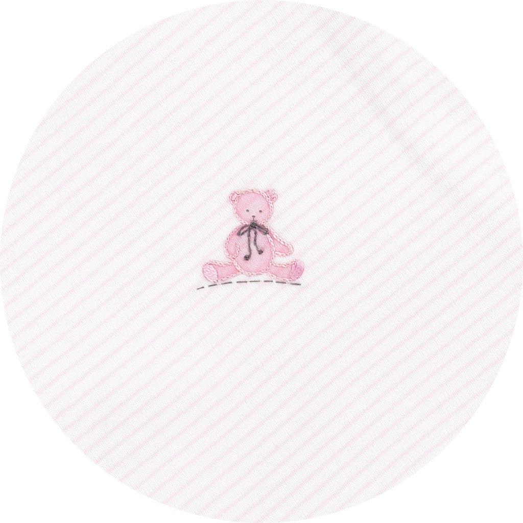 Magnolia Baby Essentials Baby's Teddy Pink Embroidered Receiving Blanket