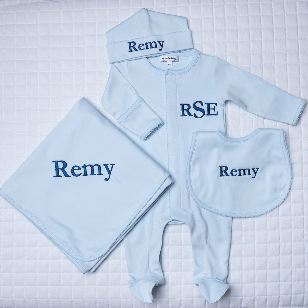 Magnolia Baby Blue 4 Piece Gift Set - Personalization Available