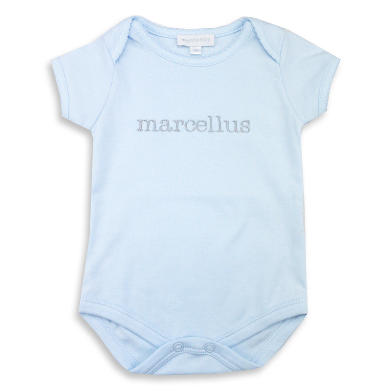 Magnolia Baby Essentials Blue Short Sleeve Bodysuit - Personalization Available