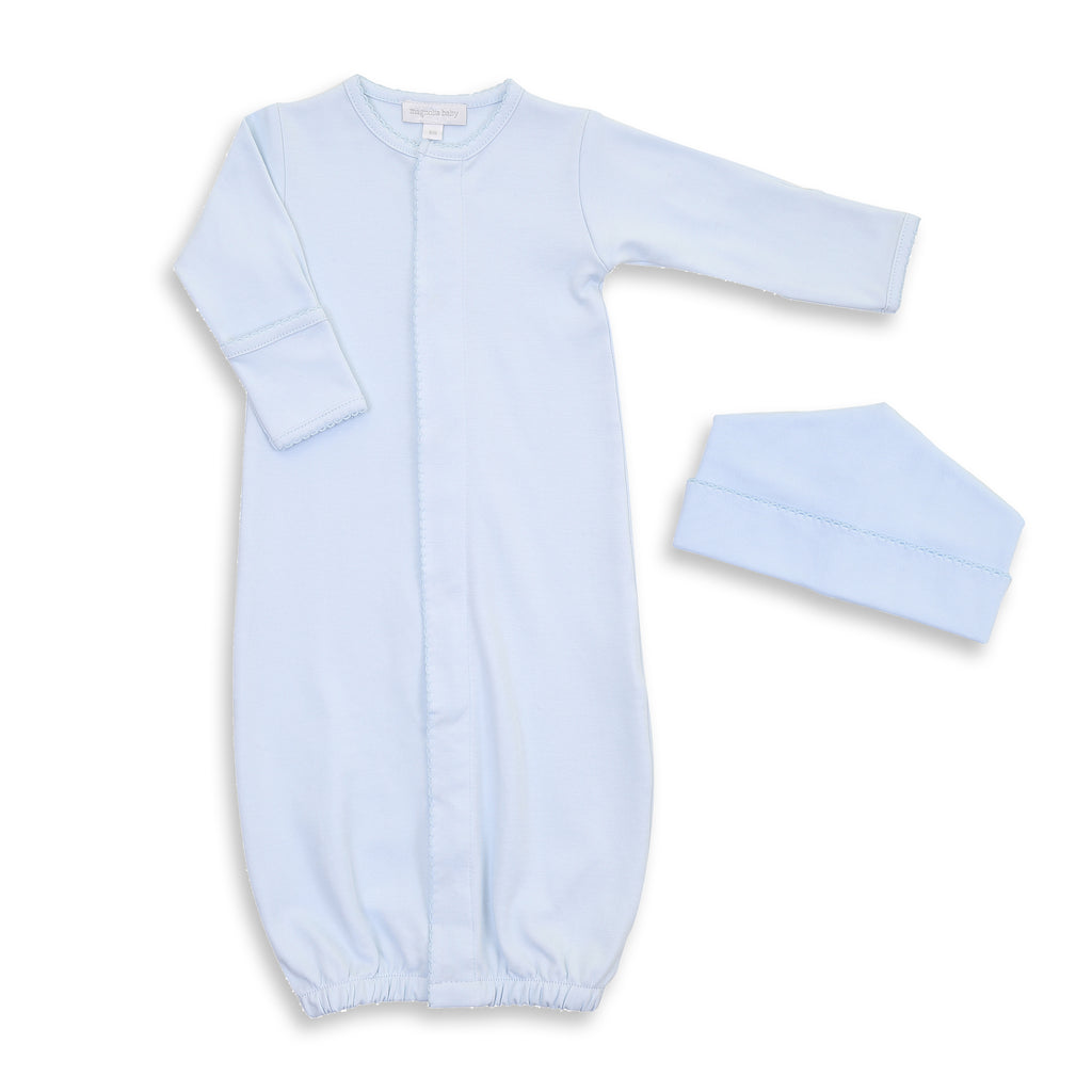 Magnolia Baby Solid Blue Converter Gown + Hat Set - Personalization Available