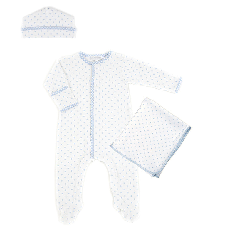 Magnolia Baby Blue Gingham Dots Sleepsuit Layette Set