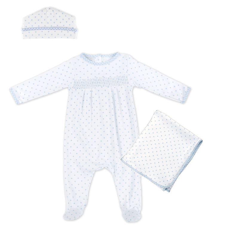 Magnolia Baby Blue Gingham Dots Smocked Sleepsuit Layette Set