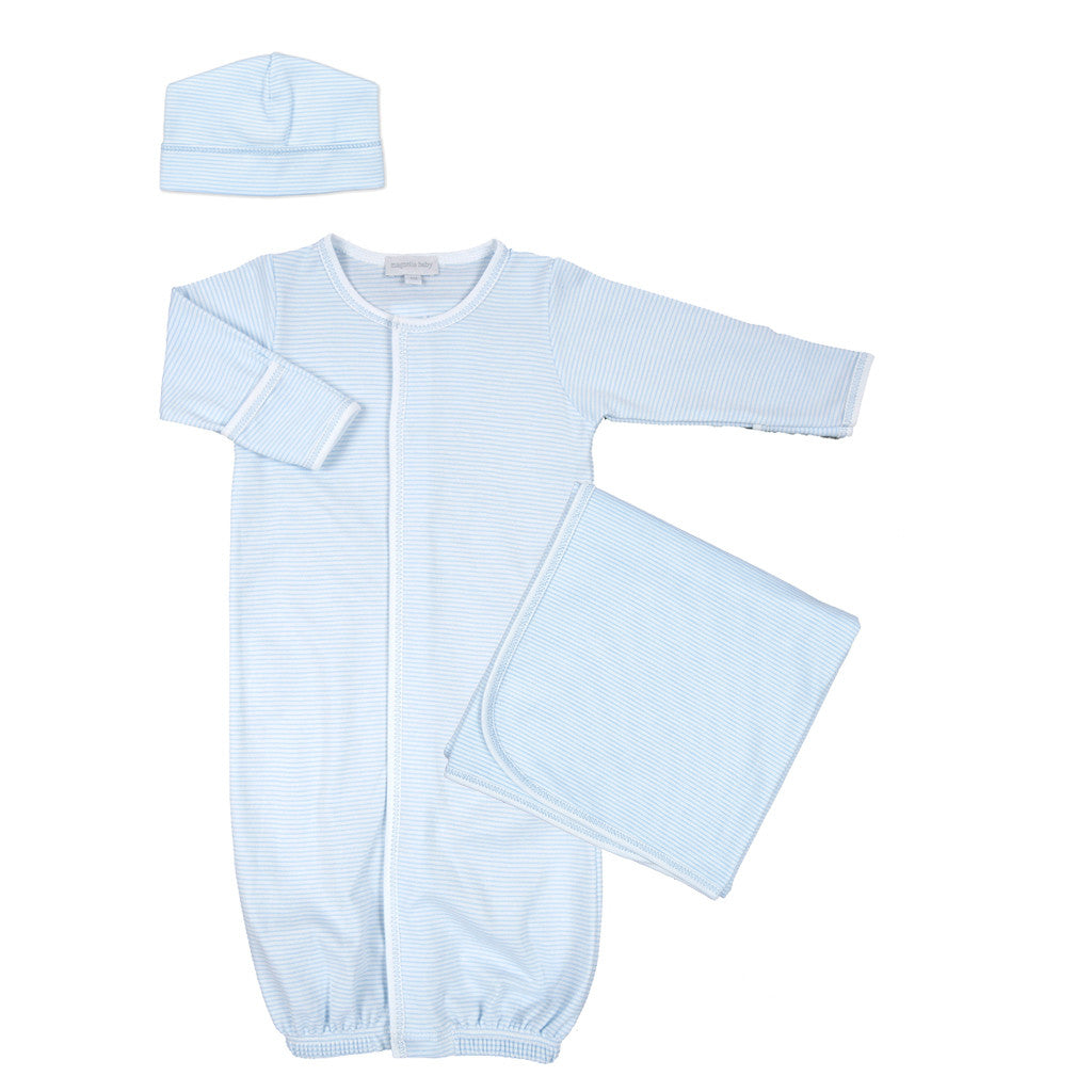 Magnolia Baby Blue Mini Stripe Converter Gown Set