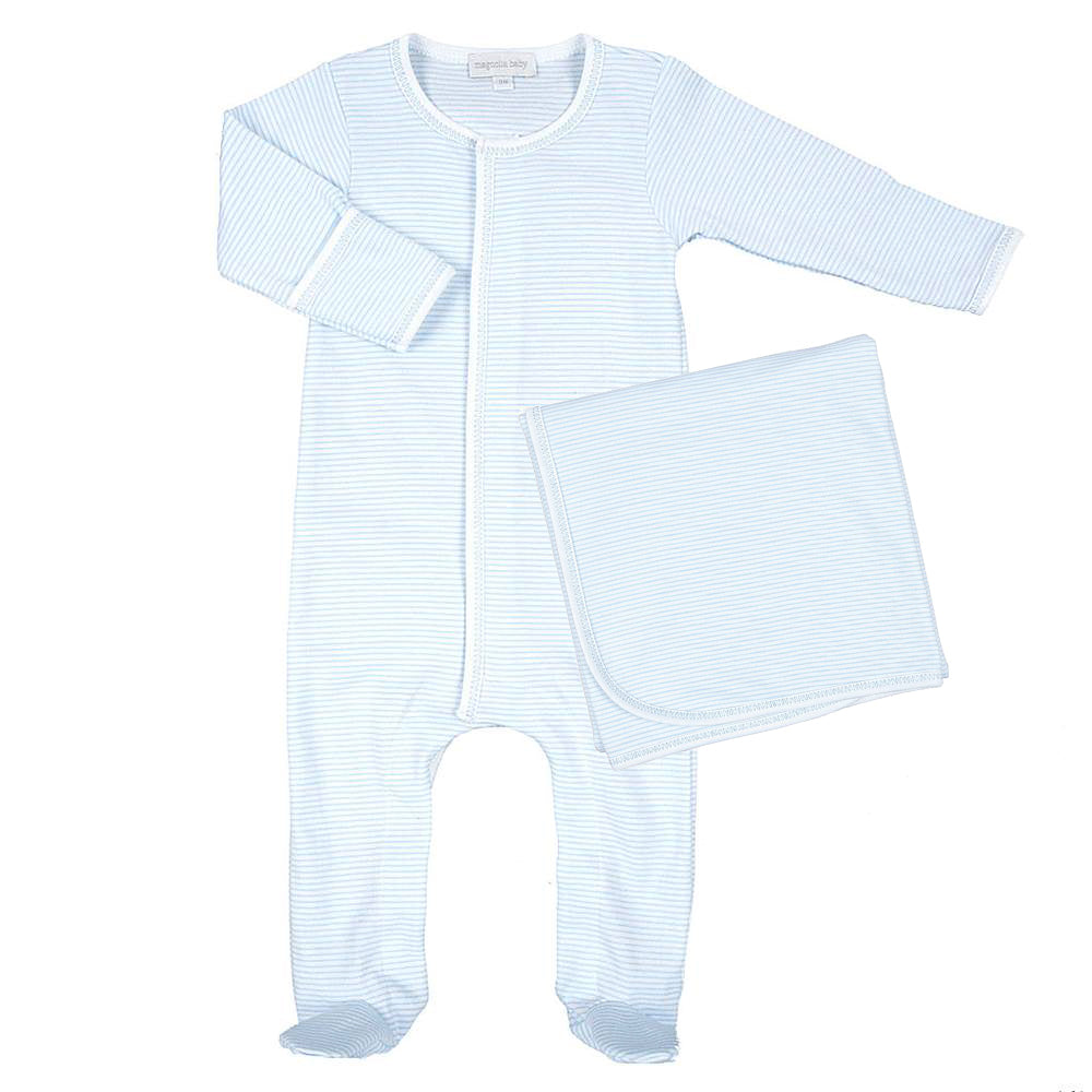Magnolia Baby Blue Mini Stripe Footie + Blanket - Personalization Available