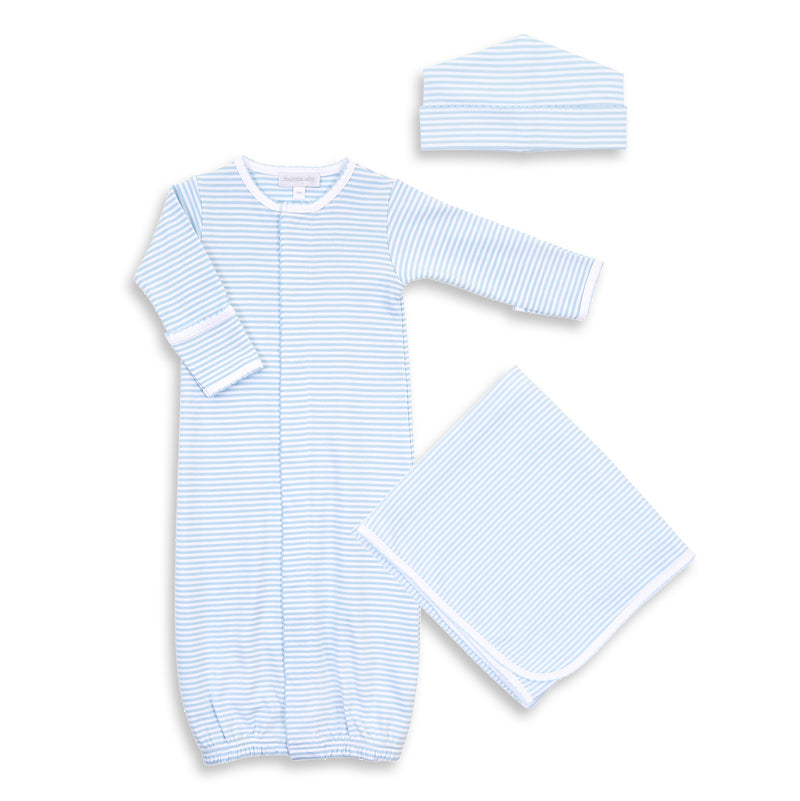 Magnolia Baby Essentials Blue Stripe Converter Gown Layette Set - Personalization Available