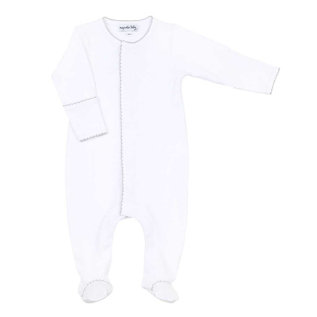 Magnolia Baby Essentials White with Grey Trim Footie - Personalization Available