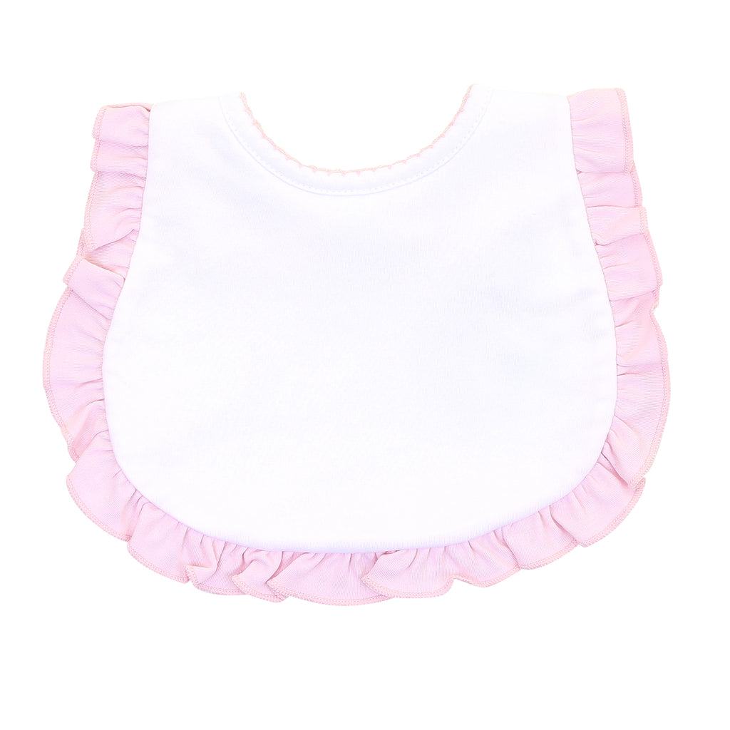 Magnolia Baby Essentials White with Pink Trim Ruffled Bib - Personalization Available