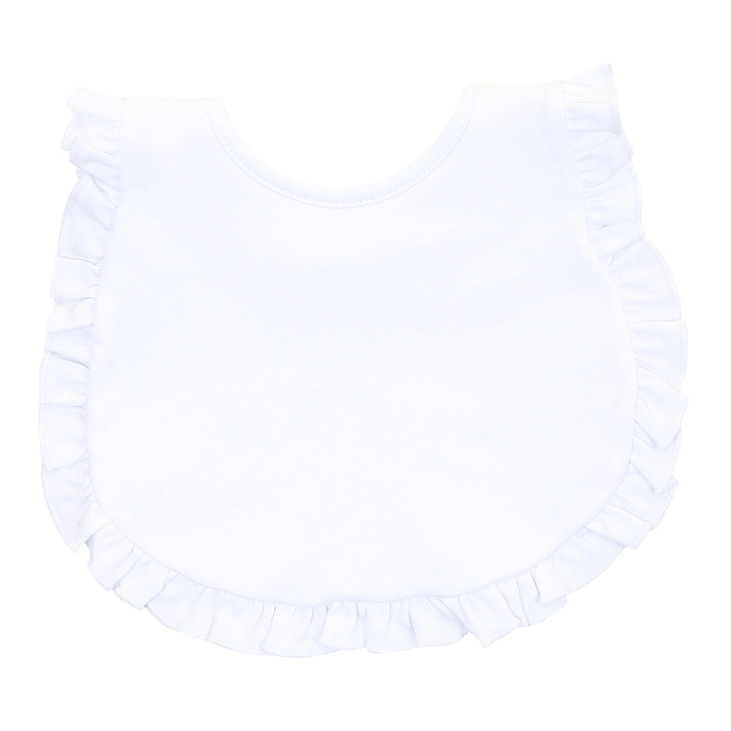 Magnolia Baby Essentials White Ruffled Bib - Personalization Available