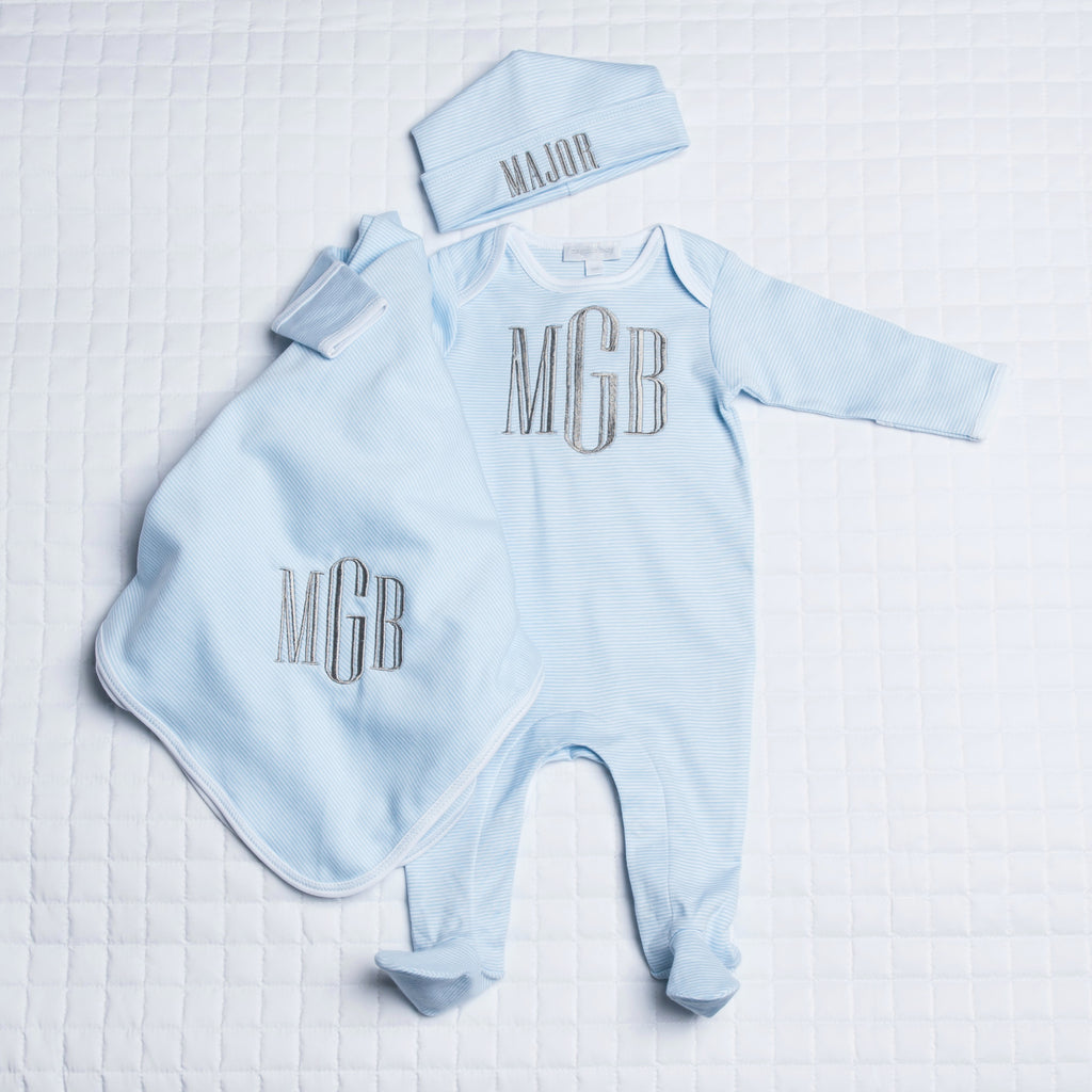 Magnolia Baby Blue Mini Stripe Lap Shoulder Footie Set - Personalization Available