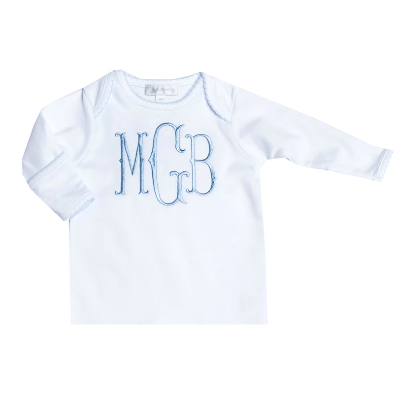 Magnolia Baby Essentials White with Blue Trim Lap Gown - Personalization Available