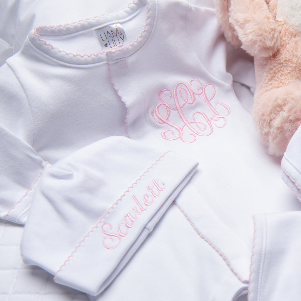 Liam & Lilly Bespoke White with Pink Trim Footie + Hat Set - Personalization Available