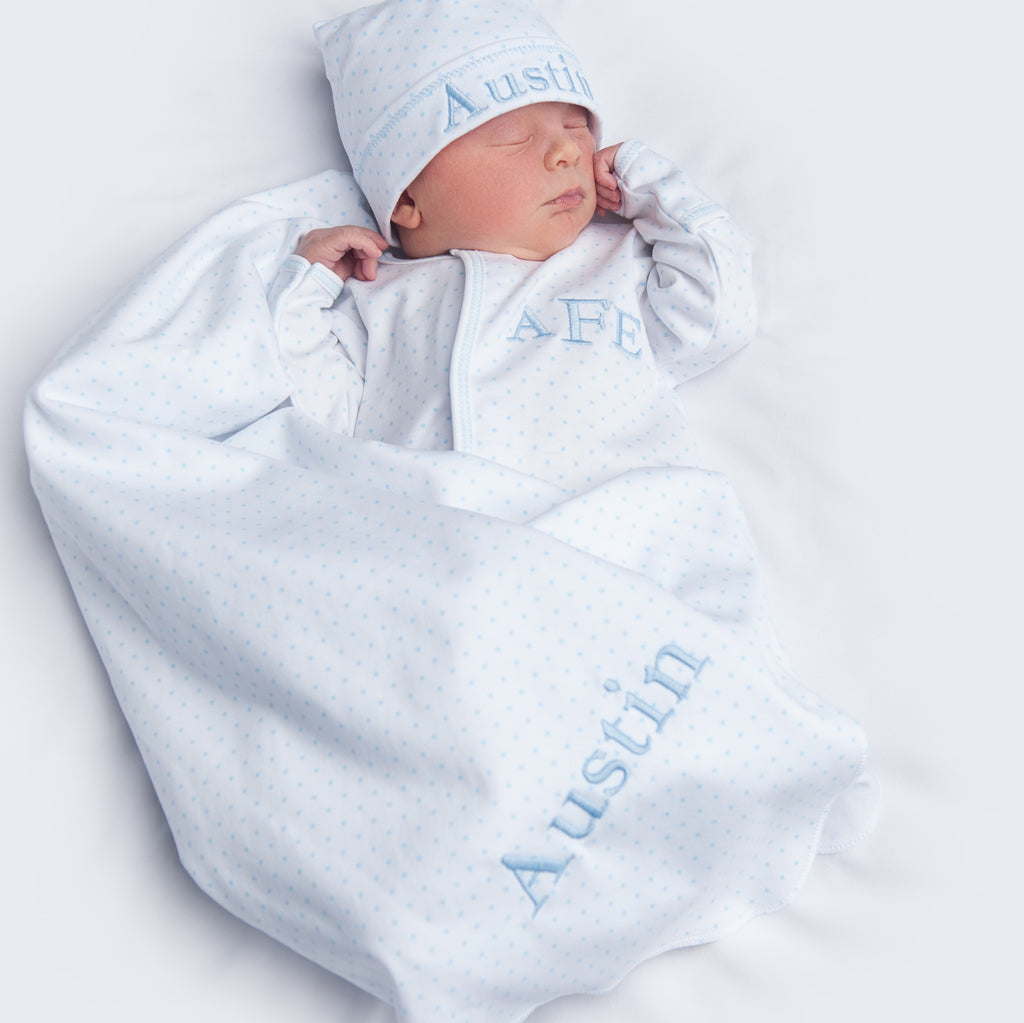 Magnolia Baby Blue Mini Dot Converter + Hat + Blanket - Personalization Available