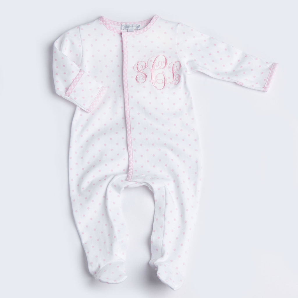 Magnolia Baby Essentials Pink Gingham Dots Footie - Personalization Available
