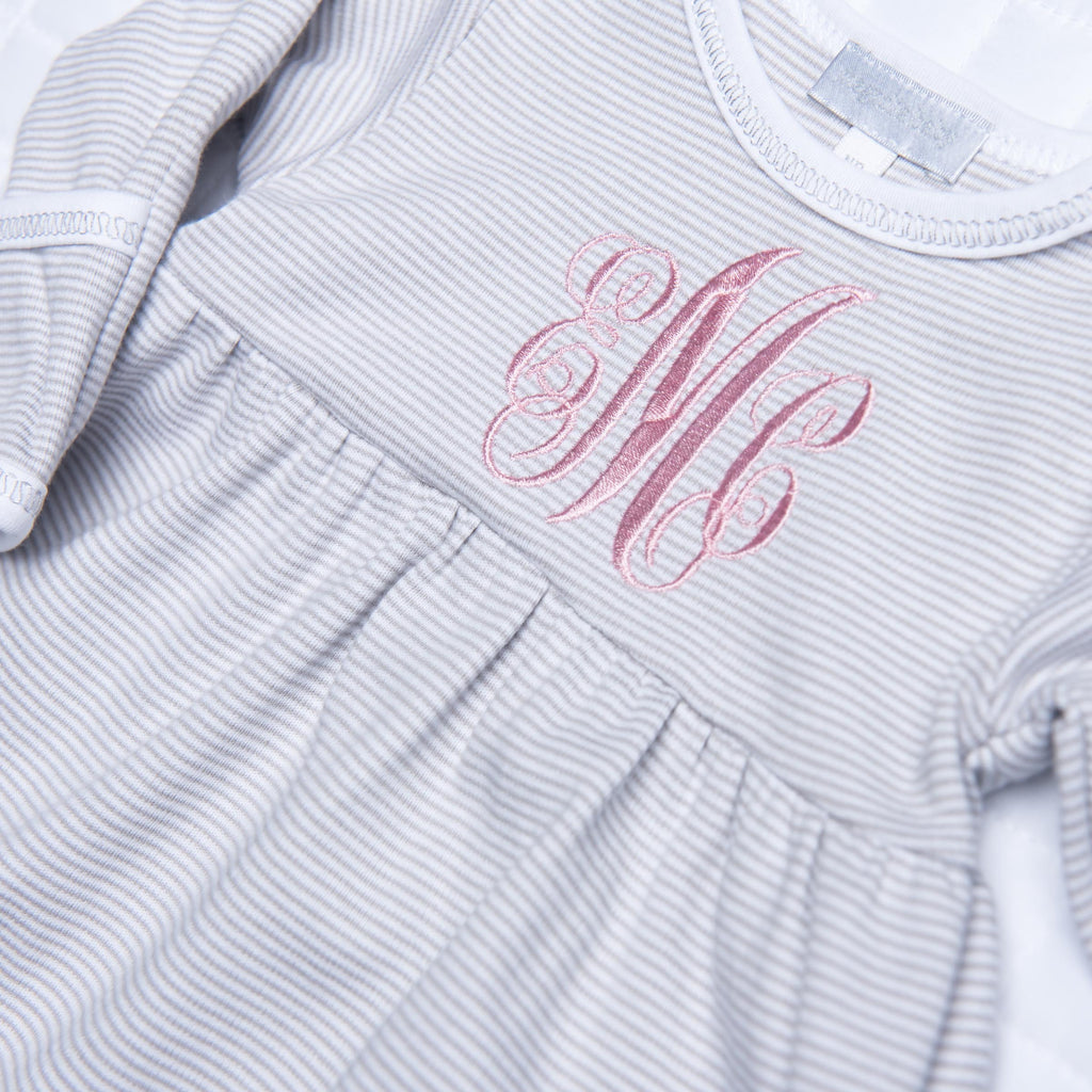 Magnolia Baby Essentials Unisex Grey Mini Stripe Gathered Gown - Personalization Available