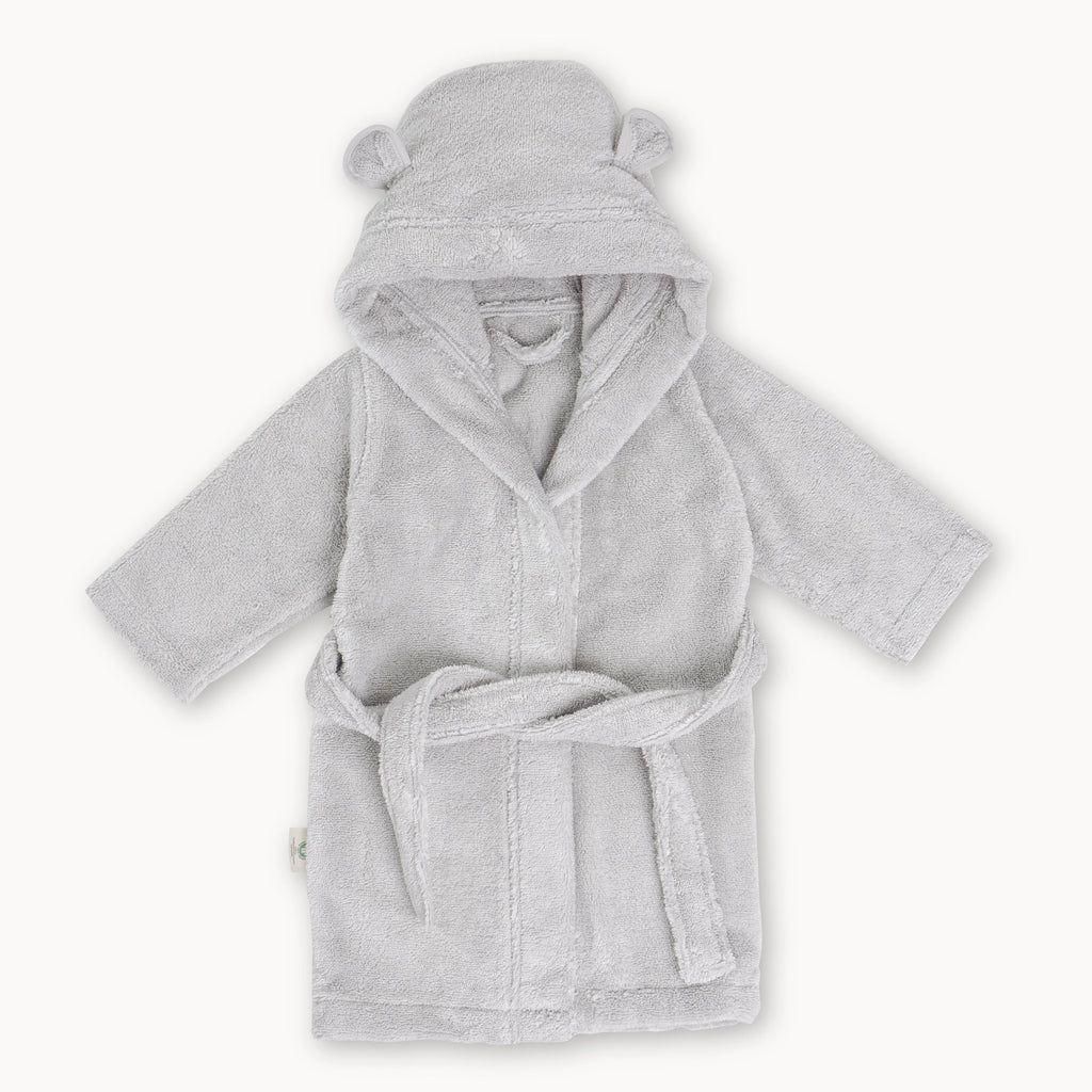 Grey Organic Cotton Robe - Personalization Available
