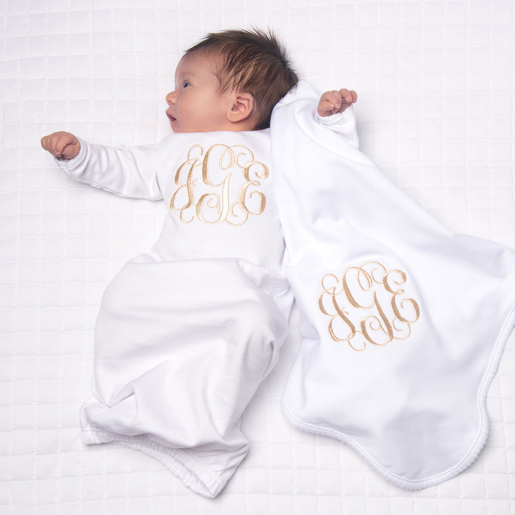 Magnolia Baby White Lap Shoulder Gown + Blanket Set - Personalization Available