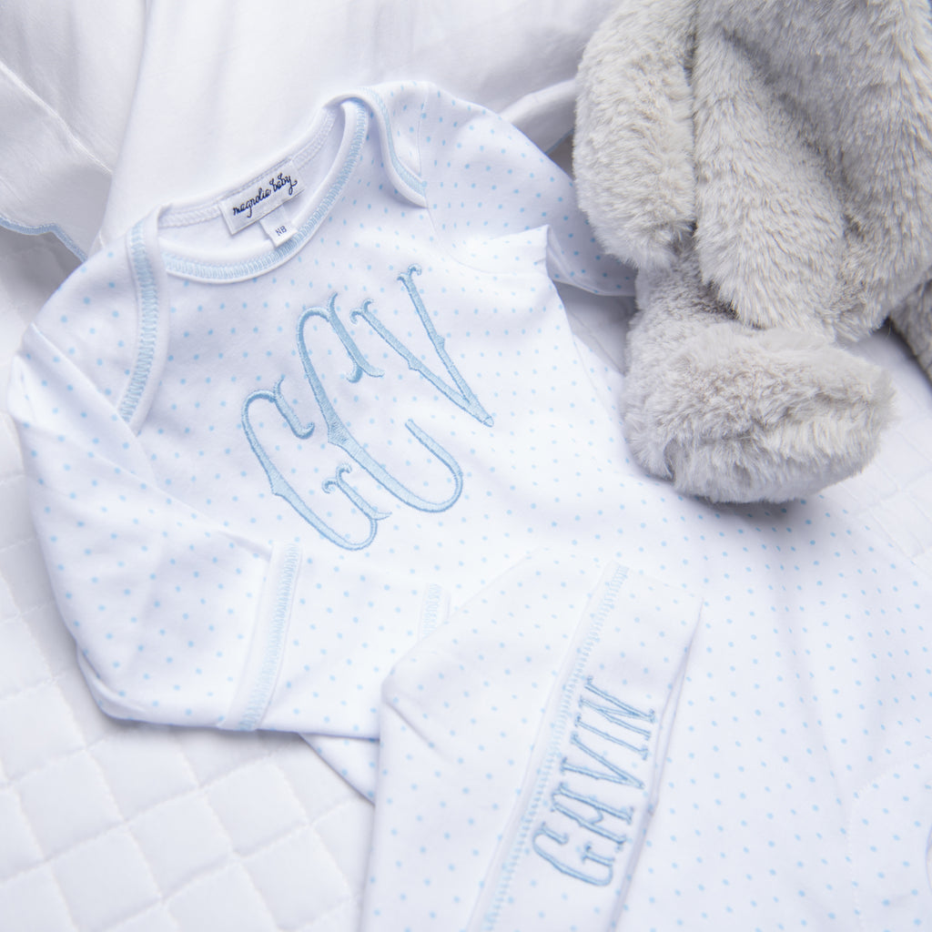 Magnolia Baby Light Blue Mini Dots Lap Shoulder Footie + Hat Set - Personalization Available