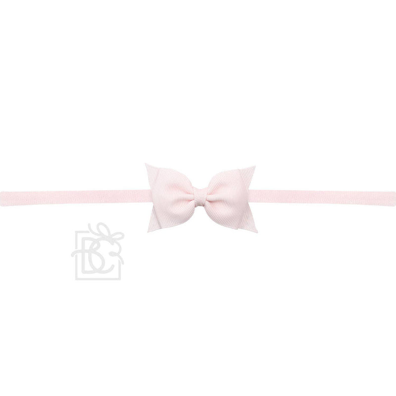 Sophia Light Pink Baby Headband with Grosgrain Bow
