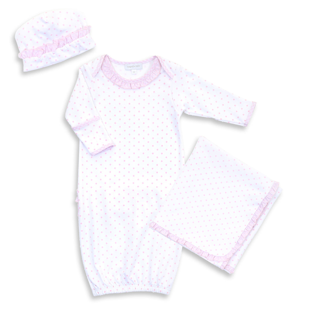 Magnolia Baby Gingham Dots Ruffle Lap Shoulder Gown Layette Set - Personalization Available